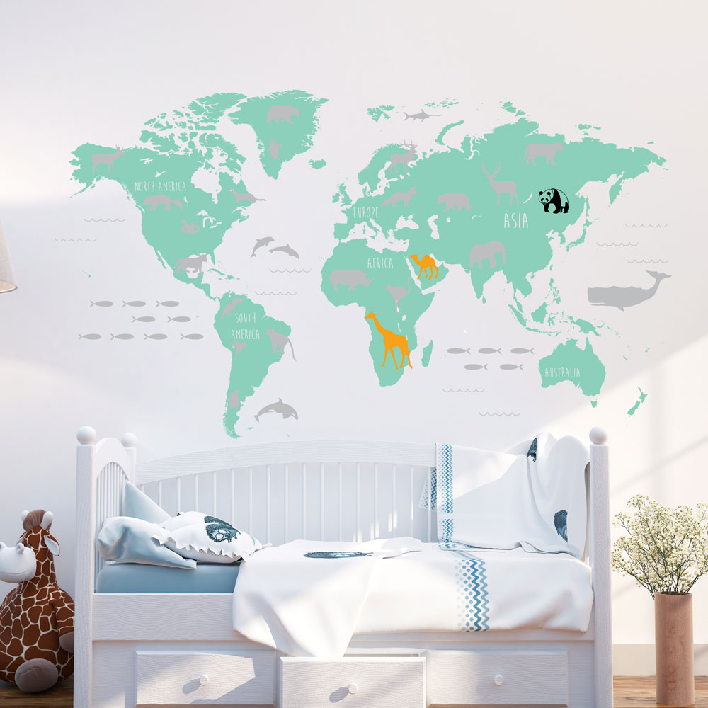 World Map with Animals Wall Decal Mint and Grey